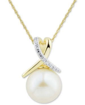 """White Cultured Ming Pearl (12mm) & Diamond (1/10 ct. t.w.) Twist 18"""" Pendant Necklace in 14k Gold"""