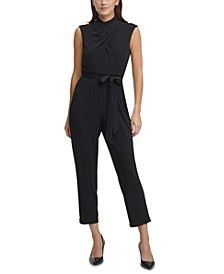 Mock-Neck Cropped Jumpsuit