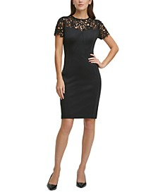 Lace-Top Scuba Sheath Dress