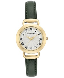 Women's Olive Green Leather Strap Watch 30mm