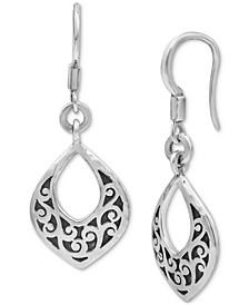 Scrollwork Drop Earrings in Sterling Silver