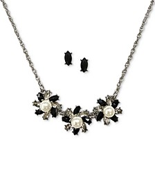 Silver-Tone Crystal & Imitation Pearl Flower Statement Necklace & Stud Earrings Set, Created for Macy's