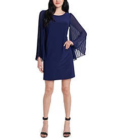 Pleated-Sleeve Shift Dress
