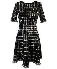 Windowpane-Print Fringed Fit & Flare Dress