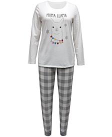 Matching Plus Size Holiday Llama Family Pajama Set, Created for Macy's