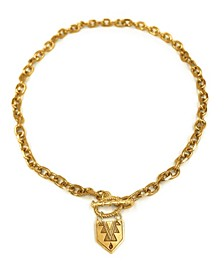 Women's 14K Gold Plated Chunky Chain Toggle Necklace with Mayan Pendant