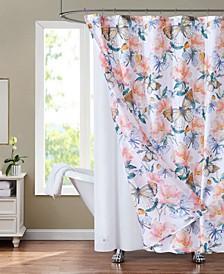 """Sunset Park Butterflies 70"""" x 72"""" Shower Curtain and Liner Set, 14 Piece"""