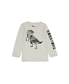 Little Boys Long Sleeve Crew Neck Mosaic Dino Graphic T-shirt