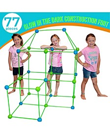 Fort Building Kit with Glow in The Dark Sticks, 77 Pieces