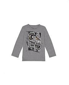 Toddler Boys Long Sleeve Crew Neck Gamer T-shirt