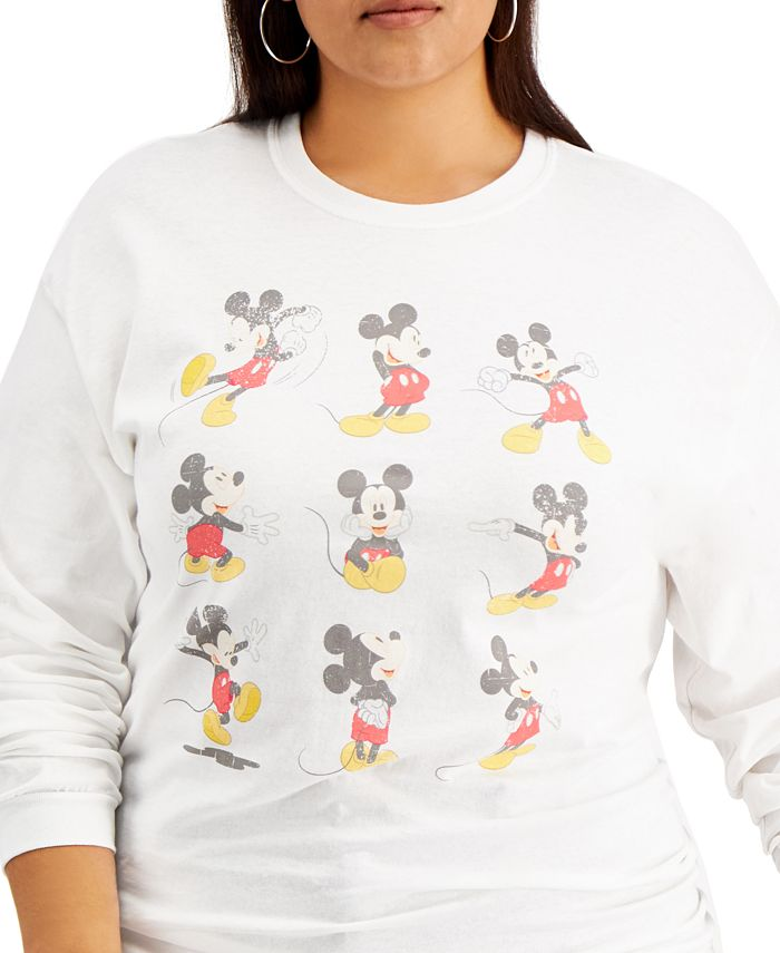 Love Tribe - Trendy Plus Size Cotton Mickey Poses Long-Sleeve T-Shirt