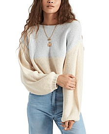 Juniors' Seeing Stripes Cotton Cropped Sweater