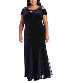 Plus Size Velvet Cold-Shoulder Gown