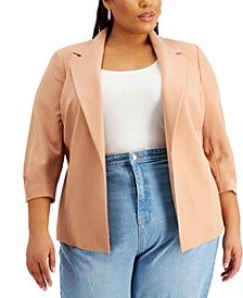 Trendy Plus Size Kiss-Front Blazer, Created for Macy's