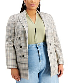 Trendy Plus Size Plaid Open-Front Blazer, Created for Macy's