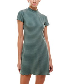 Juniors' Mock-Neck A-Line Dress