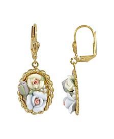 Women's Gold Tone Blue and Ivory Porcelain Flower Drop Earrings