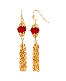 Women's 14K Gold Dipped Red Bead Tassel Drop Earring