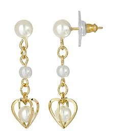 Women's 14K Gold Dipped Double Imitation Pearl Drop Heart Earring