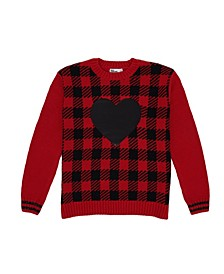 Big Girls Plaid with Heart Graphic Sweater
