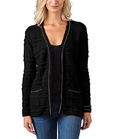 Black Label Women's Plus Size Chain Embellished Long Sleeve Cardigan