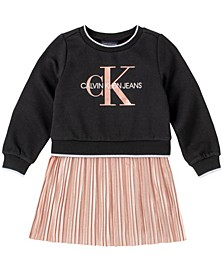 Toddler Girls Fleece with Pleated Knit Peplum