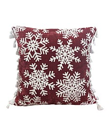 "Genell Snowflake Embroidered Side Tassel Pillow, 20"" x 20"""