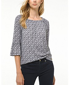 Paisley-Print Bell-Sleeve Top, Regular & Petite Sizes