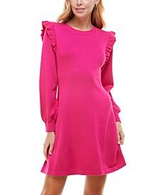 Juniors' Ruffled A-Line Sweater Dress