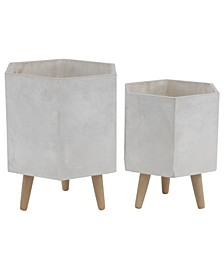 Geometric Ceramic Outdoor Planters with Mid-Century Wood Legs, Set of 2
