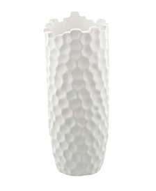 Extra Large Cylinder Porcelain Vase with Honeycomb Texture and Top