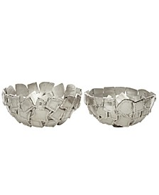 Contemporary Decorative Metal Bowls with Textured Rectangular Pattern, Set of 2