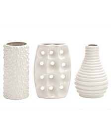 Modern Style Alabaster Ceramic Vases with Pierced Grid, Knotted, and Ridged Finishes, Set of 3