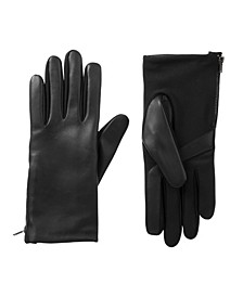 Women's Lined Stretch Leather Touch Screen Glove