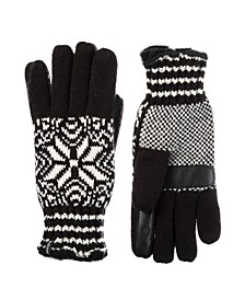 Women's Lined Water Repellent Touch Screen Snowflake Knit Gloves