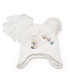 Big Girls Knit Hat with Appliques Patches and Pom Pom with Magic Gloves, 2 Piece Set