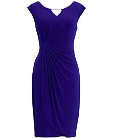 Plus Size Cap-Sleeve Side-Ruched Sheath Dress