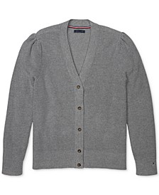 Women's Puff-Shoulder Cardigan with Magnetic Buttons