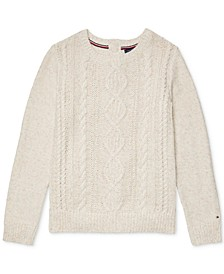 Women's Cable-Knit Sweater with Velcro® Closures