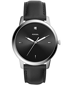 Men's The Minimalist Carbon Series Black Leather Watch 44mm
