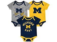 Newborn Girls Michigan Wolverines 3piece Creeper Set