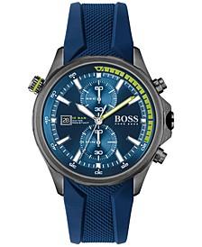 HUGO Men's Chronograph Globetrotter Blue Silicone Strap Watch 46mm
