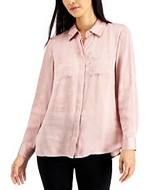 INC Satin Utility Shirt, Created for Macy's