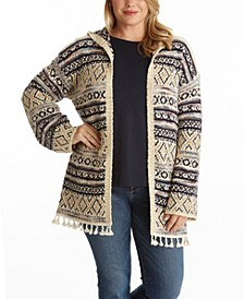 Women's Plus Size Fuzzy Patterned Open Cardigan
