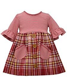 Toddler Girls Stripe Knit Bodice to Plaid Flannel Dress
