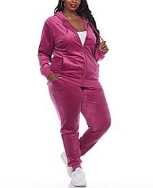 Plus Size Velour Tracksuit Loungewear 2pc Set