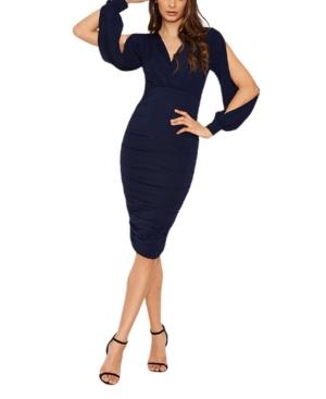Women's Split Sleeve Ruched Bodycon Dress