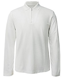 Men's Long-Sleeve Ottoman Quarter-Zip Polo Shirt, Created for Macy's