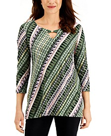 Lattice-Trim Printed Top, Created for Macy's