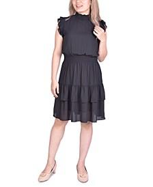 Petite Smocking-Trim Ruffled Dress